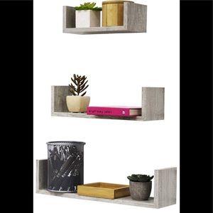 Gray Wood Floating Shelves set of 3 Brand New